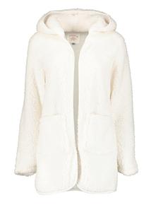Cream Borge Hooded Fleece Robe