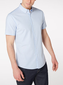 Blue Slim Fit Oxford Shirt With Stretch