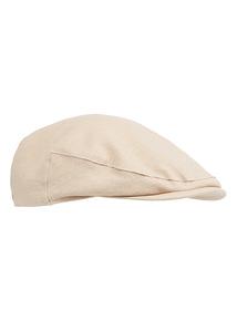 Oatmeal Linen Flat Cap