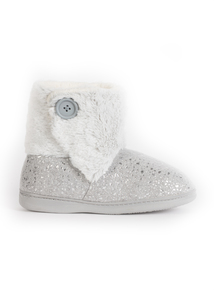 Grey Foil Print Slipper Boot