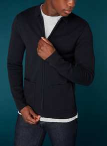 Premium Navy Zip Through Milano Jumper