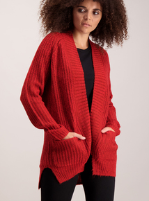 Red Chunky Knit Coatigan