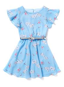Blue Swan Print Dress (3-14 years)