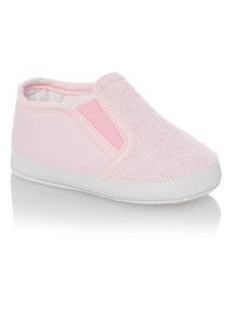 Girls Pink Lace Pumps (0 - 18 months)