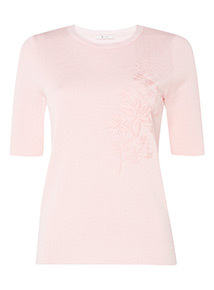 Online Exclusive Pink Floral Embroidered Top