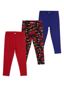 Girls Red Bohemian Leggings 3 Pack (3-12 years)