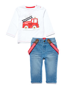 Multicoloured Tee & Jeans With Braces Set (1-24 months)
