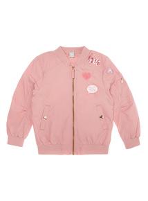 Girls Pink Badged Bomber Jacket (9 months-6 years)