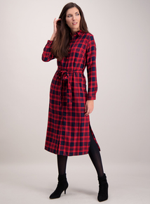 Red Check Midi Shirt Dress