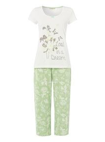 Green Floral Cropped Pyjama Set