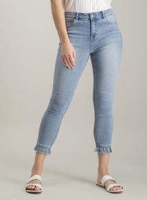 c3f1a564bd Light Wash Denim Frill Hem Skinny Fit Jeans With Stretch