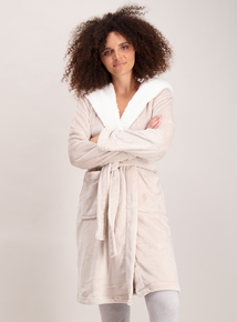 Oatmeal Fleece Collar Hooded Dressing Gown