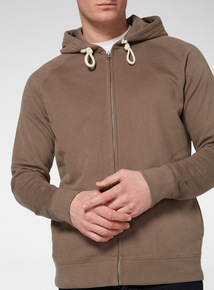 Taupe Zip Through Hoodie