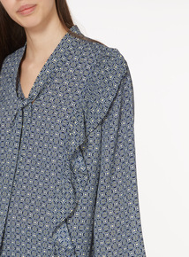 Printed Frill Blouse