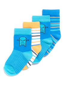 4 Pack Multicoloured Striped Socks