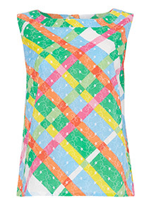 Multicoloured Sleeveless Check Top