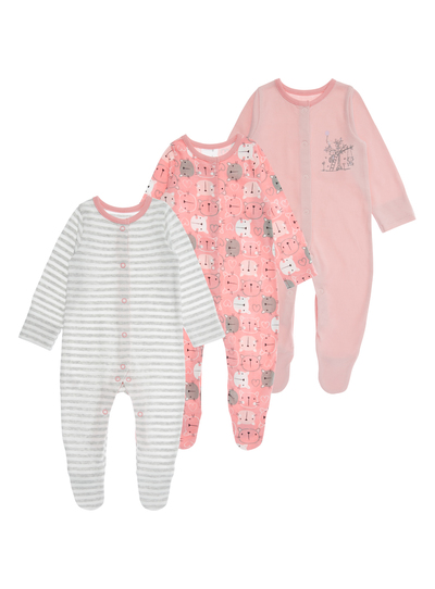 31dfc293035e Baby Girls Pink Kitten Sleepsuits 3 Pack (0-24 months)