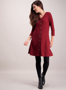 Dark Red Ribbed Button Through Dress