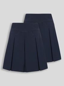 Navy Permanent Pleat Skirt 2 Pack (3-16 years)