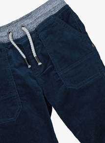 Navy Rib Waist Cord Trousers (9 Months - 6 Years)