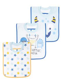 Blue Three Pack Monster Popover Bibs (0-24 months)