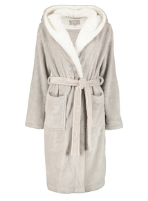 Grey Heart Embossed Hooded Dressing Gown