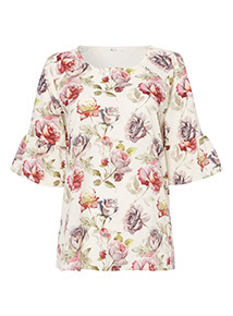 Multicoloured Woven Front Floral Top
