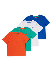 4 Pack Multicoloured Plane T-Shirts (9 months-6 years)