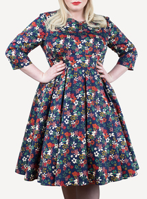 EMILY Navy Floral Lauren Vintage Half Sleeve Dress