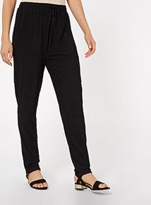 Black Crinkle Drawstring Trousers