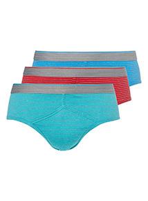 3 Pack Multicoloured Bright Stripe Briefs
