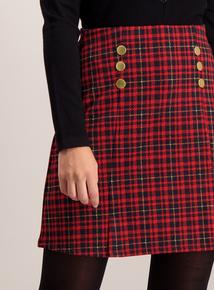 Red Check Kilt Style Mini Skirt