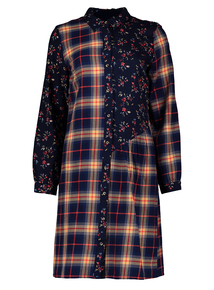 Multicoloured Check & Floral Shirt Dress