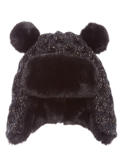 Black and Gold Sparkle Trapper Hat (1-12 years)