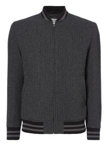 Charcoal Herringbone Wool Baseball Jacket