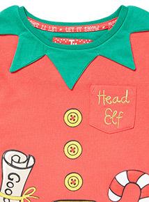 Red Elf Pyjamas With Tutu Set