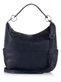 Navy Studded Hobo Bag