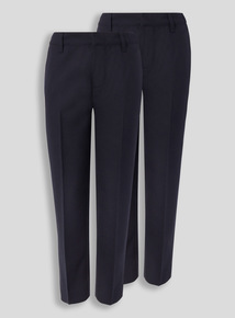 Navy Woven Longer Leg Trousers 2 Pack (3 - 12 years)