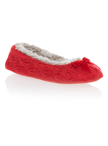 Red Knitted Ballerina Slippers