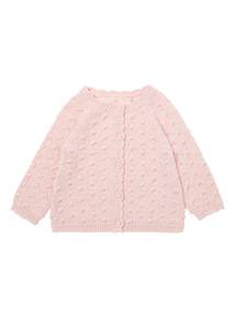 Girls Pink Knitted Cardigan (0-12 months)