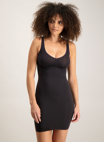Black Secret Shaping V Neck Slip Dress
