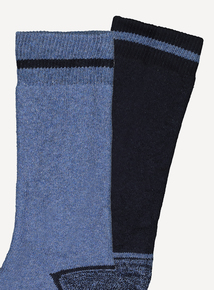 Navy & Light Blue Blister Resist Socks 2 Pack