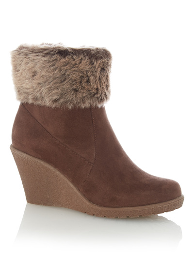 womens brown fur lined wedge ankle boots tu clothing