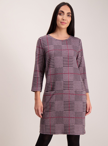 Online Exclusive Berry Pink Check Shift Dress