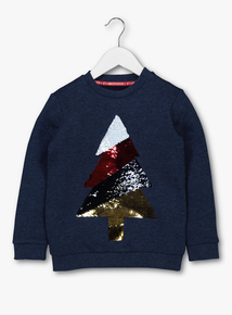 Grey Sequin Christmas Tree Sweatshirt (3-14 years)