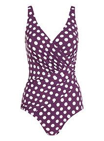 Spot Print Wrap Swimsuit