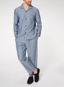 Blue Herringbone Traditional Pyjama Set