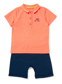 2 Piece Multicoloured Polo Top and Short Set (0-24 months)