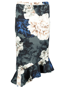 Online Exclusive Multicoloured Floral Asymmetrical Skirt