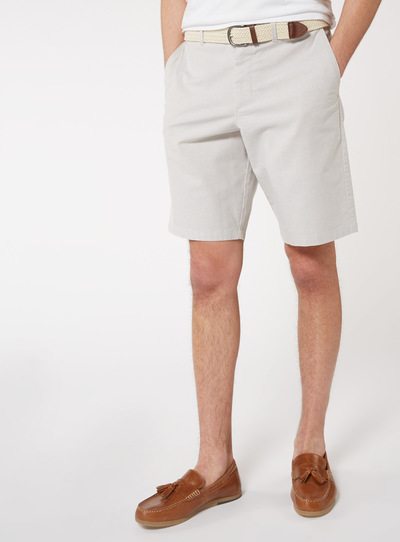 b9329e9dfdc Menswear Stone Belted Oxford Chino Shorts